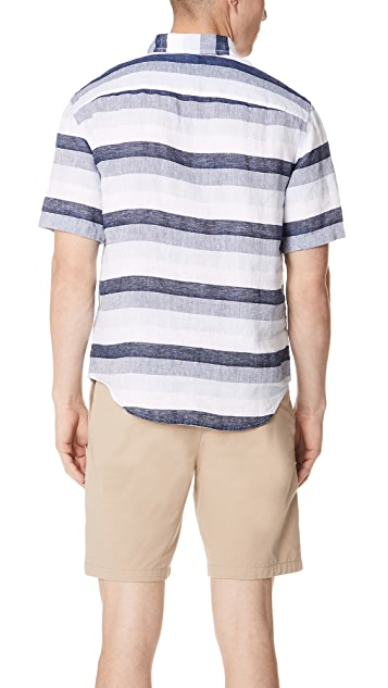 Club Monaco Linen Stripe Shirt