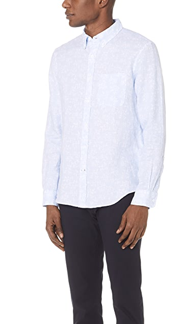 Club Monaco Button Down Linen Leaf Shirt