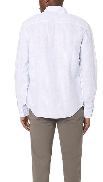 Club Monaco Button Down Linen Stripe Shirt