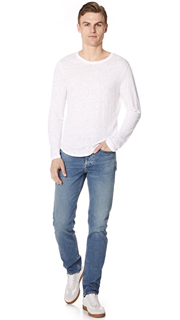 Club Monaco Long Sleeve Linen Crew Tee