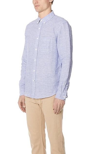 Club Monaco Linen End on End Button Up Shirt