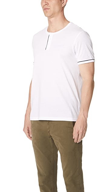 Club Monaco Short Sleeve Piped Henley