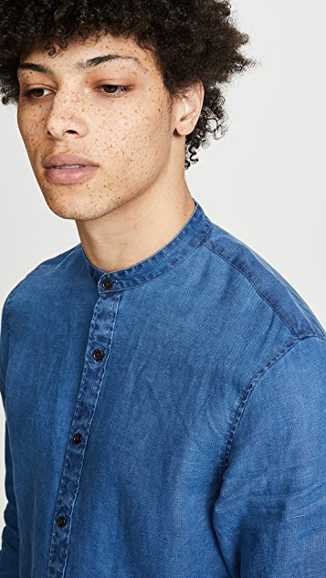 Club Monaco Band Collar Solid Linen Shirt