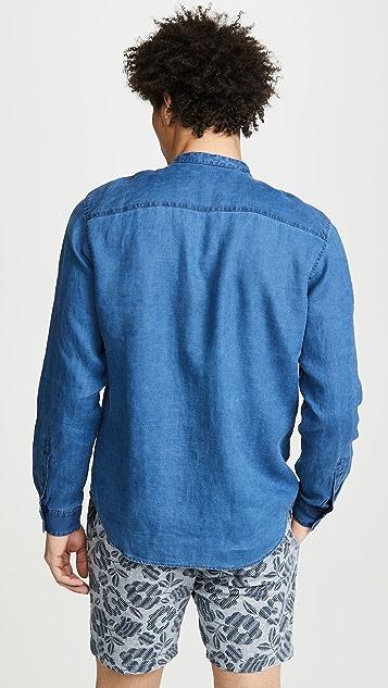 Club Monaco Band Collar Solid Linen Shirt