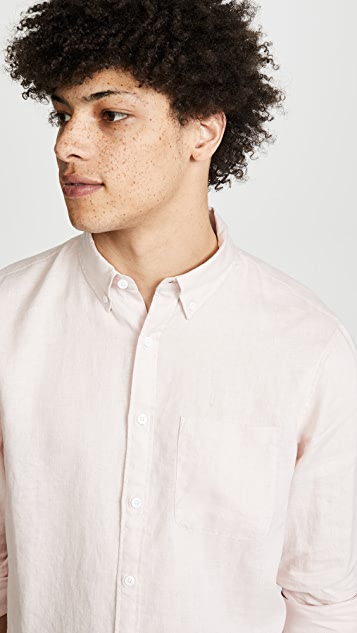 Club Monaco Button Down Solid Linen Shirt