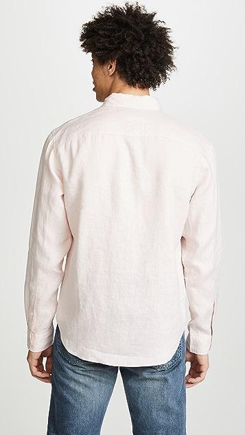 Club Monaco Button Down Solid Linen Shirt