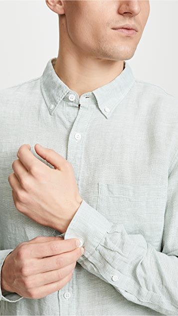 Club Monaco Button Down Linen Shirt