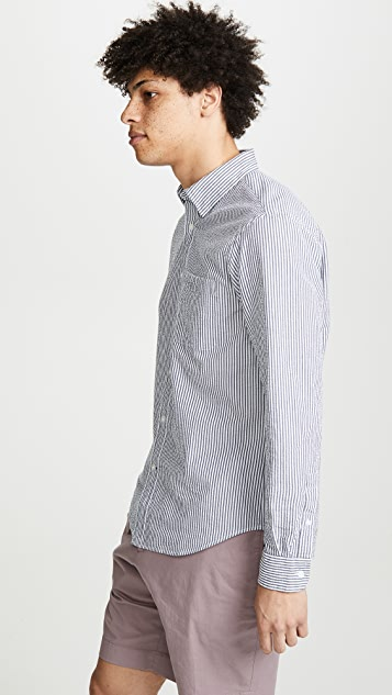 Club Monaco Hidden Button Down Seersucker Shirt