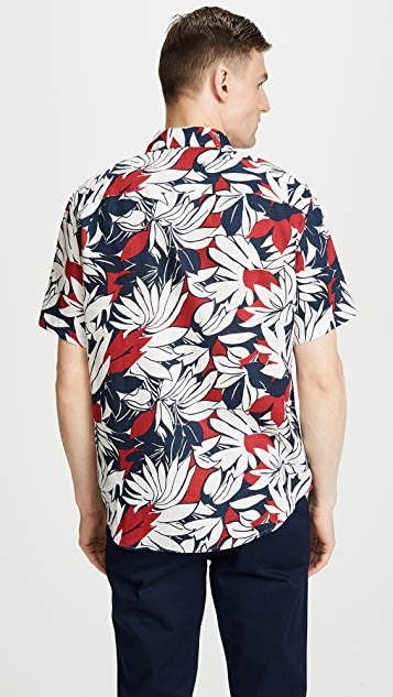 Club Monaco Tropical Leaf Print Shirt