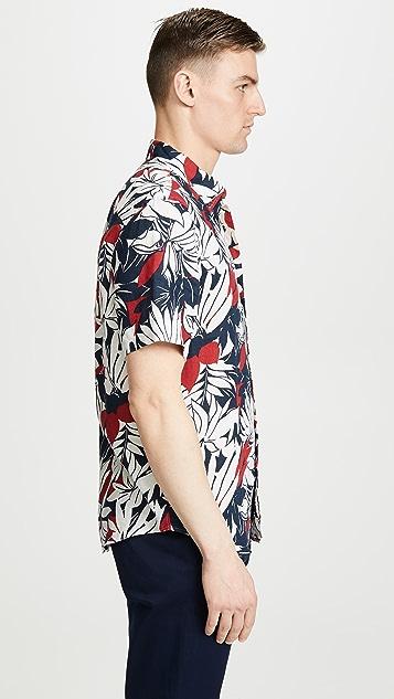 Club Monaco Tropical Leaf Print Shirt
