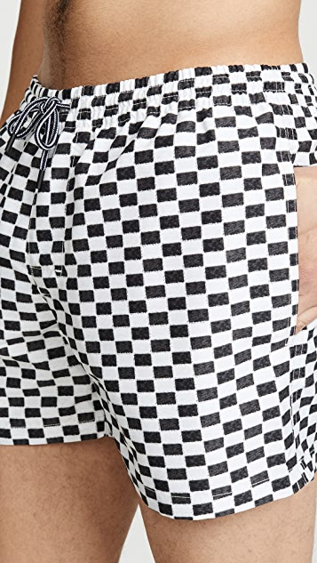 Club Monaco Arlen Checkerboard Swim Trunks