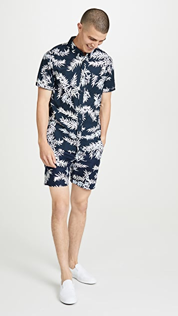 Club Monaco Leaves Print Short Sleeve Slim Button Down Shirt