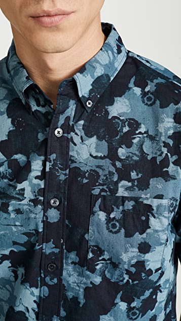 Club Monaco Photographic Floral Print Short Sleeve Button Down Shirt