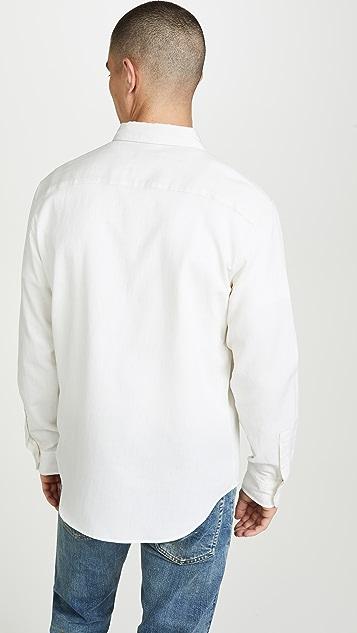 Club Monaco Long Sleeve Button Down Pique Shirt