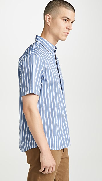 Club Monaco Short Sleeve Button Down Striped Popover Shirt