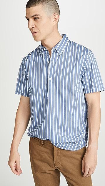 Club Monaco Short Sleeve Button Down Striped Popover Shirt