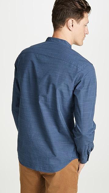 Club Monaco Long Sleeve Barrel Cuff Slub Poplin Shirt