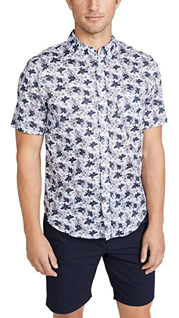 Club Monaco Short Sleeve Button Down Baja Blossom Shirt