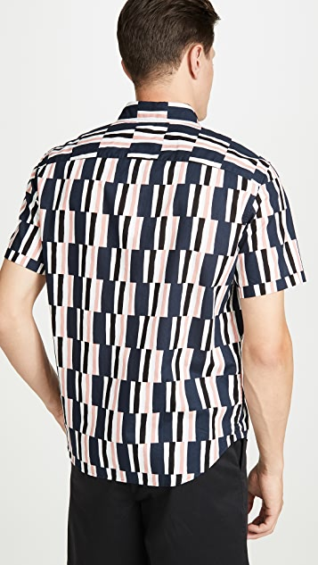 Club Monaco Slim Short Sleeve Button Down Broken Stripe Shirt