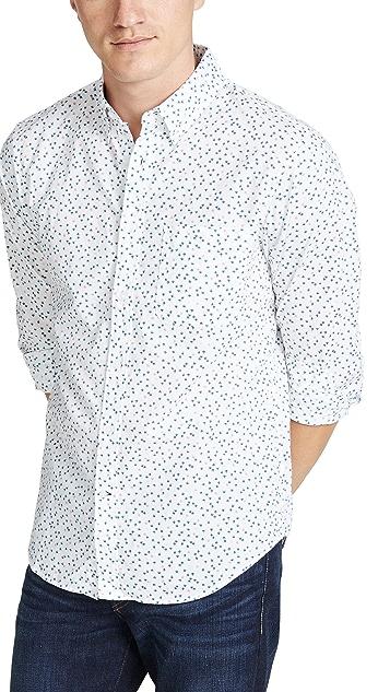 Club Monaco Slim Button Down Agave Ditsy Shirt