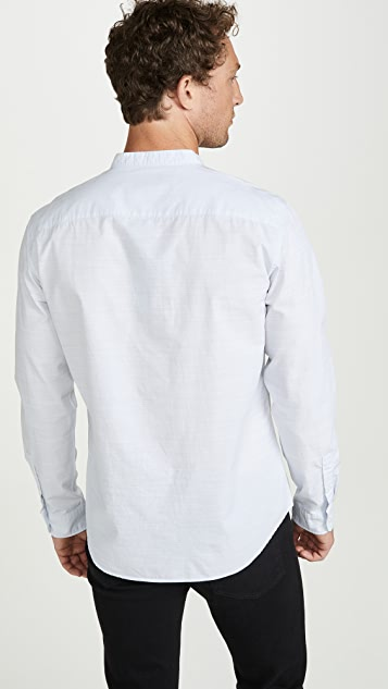 Club Monaco Long Sleeve Barrel Cuff Slub Poplin Shirt