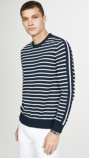 Club Monaco Long Sleeve Strapped Striped Crew Neck Sweater