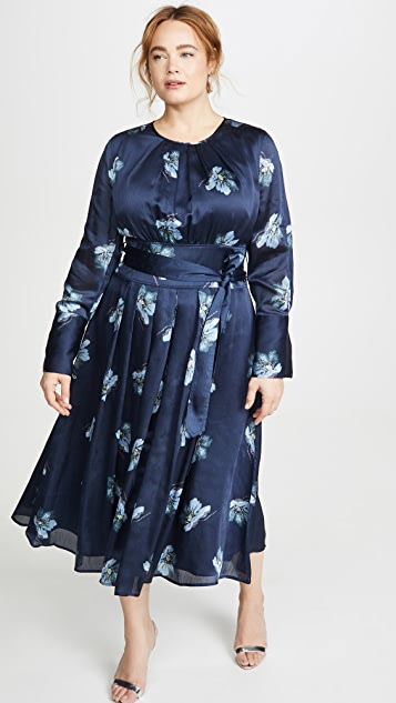 Club Monaco Floral Belted Midi Dress