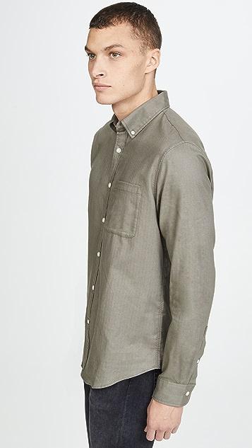 Club Monaco Flannel Herringbone Button Down Shirt