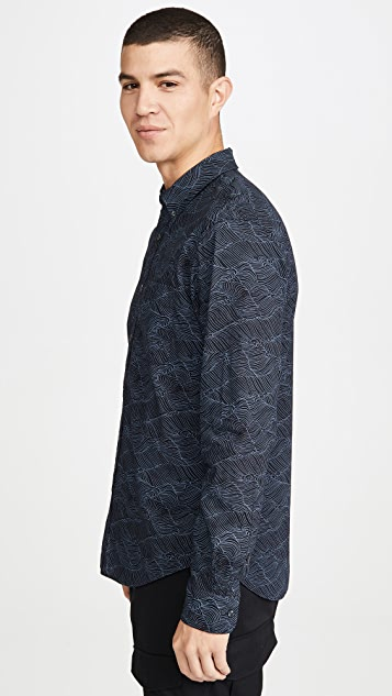 Club Monaco Slim Layered Wave Button Down Shirt