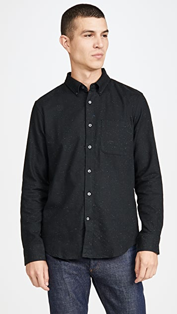 Club Monaco Long Sleeve Button Down Donegal Twill Shirt