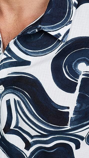 Club Monaco Short Sleeve Loop Wave Shirt