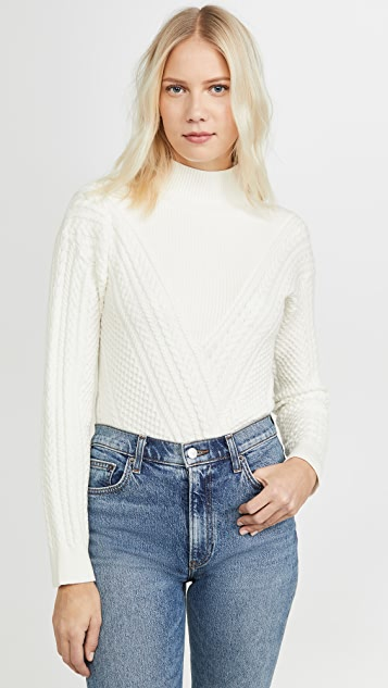 Club Monaco Tops Cable Front Turtleneck Sweater