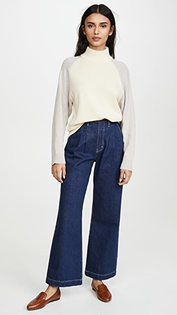 Club Monaco Colorblock Mock Neck Sweater