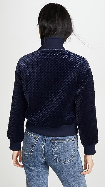 Club Monaco 绗缝丝绒四分之一拉链运动衫