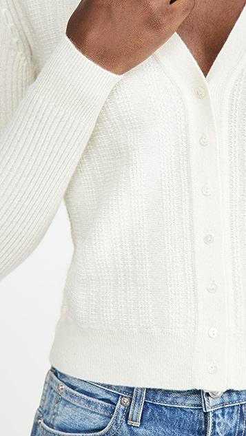 Club Monaco Stitchy 皱缩开司米羊绒开襟衫