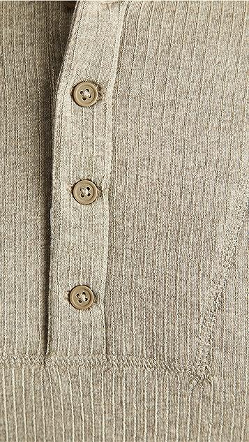 Club Monaco Double Knit Long Sleeve Henley