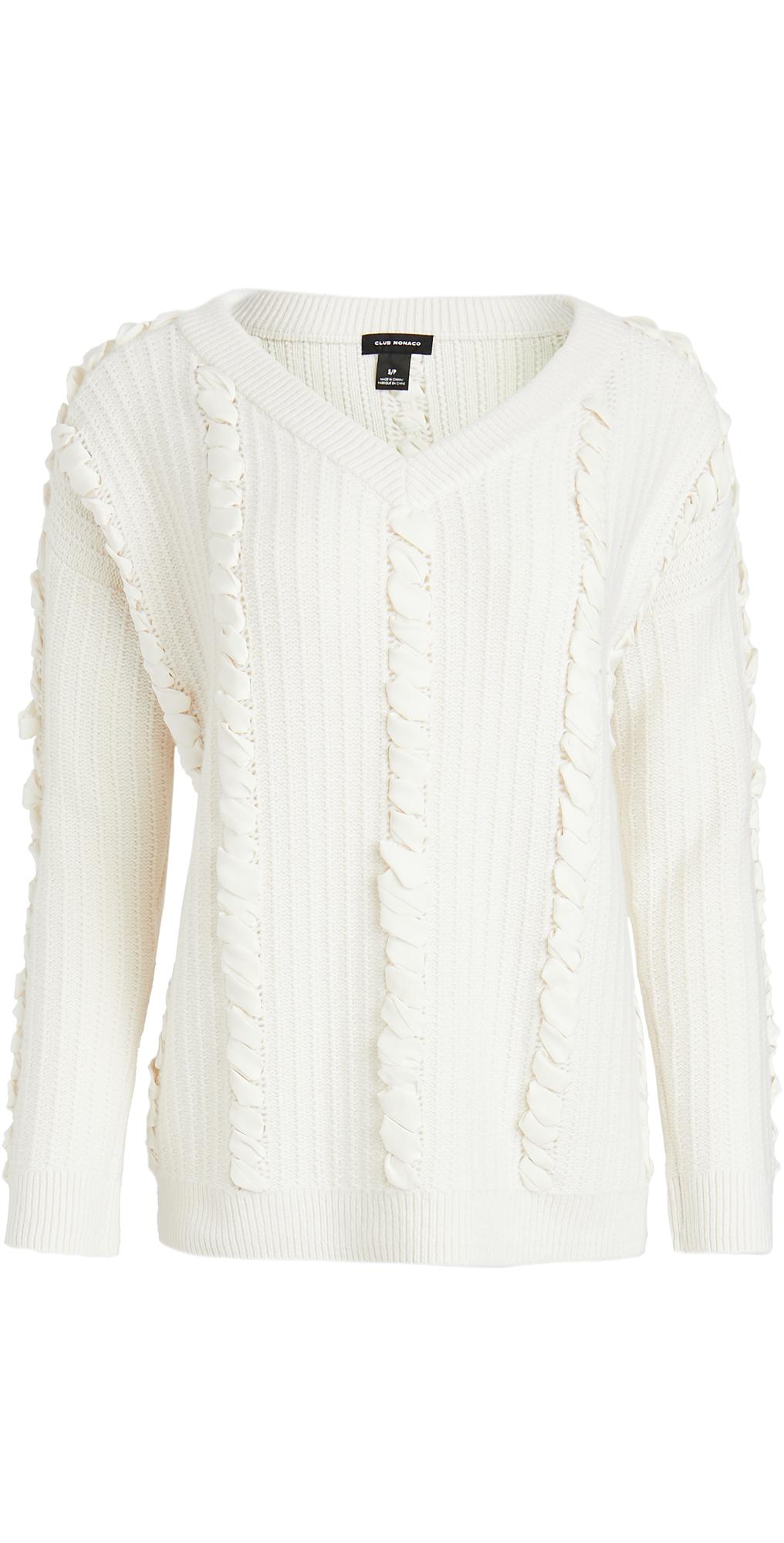 Club Monaco Woven Detail Sweater