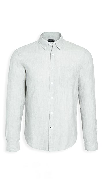 Club Monaco Button Down Jaspe Linen Shirt
