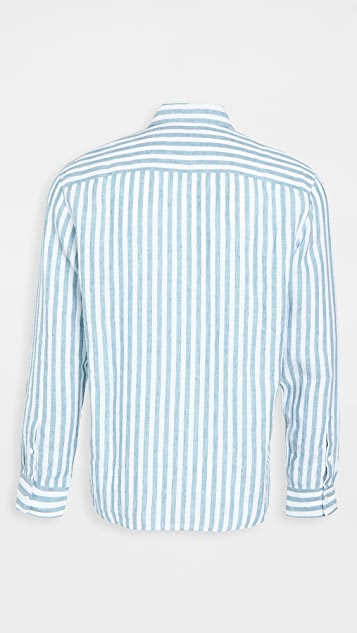 Club Monaco Button Down Stripe Linen Shirt