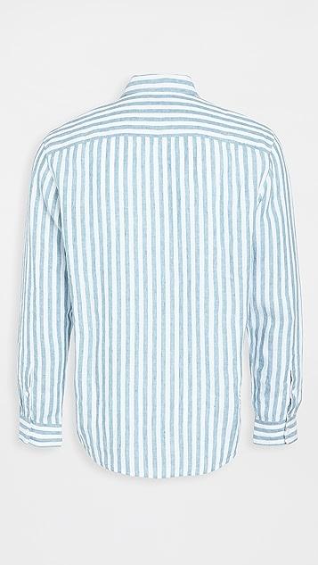 Club Monaco Button Down Stripe Linen Shirt