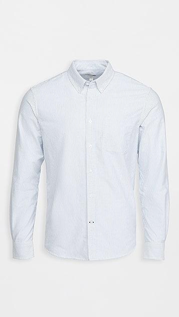 Club Monaco Long Sleeve Stripe Oxford Shirt