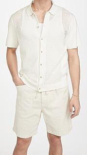 Club Monaco Knit Mesh Button Down Shirt