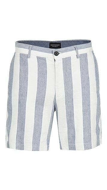 Club Monaco Baxter Linen Stripe Shorts