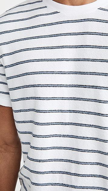 Club Monaco Short Sleeve Textural Stripe Shirt