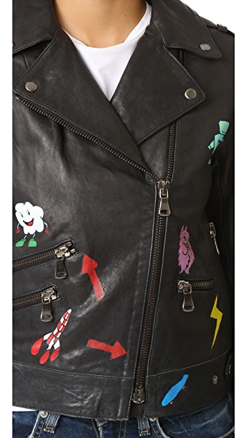Mira Mikati Hand Painted Leather Jacket