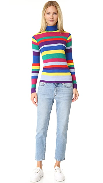 Mira Mikati Ribbed Turtleneck Top with Stripes