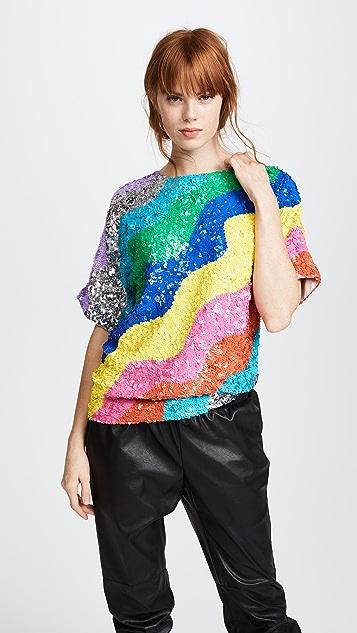 Mira Mikati Rainbow Wave Sequin Top