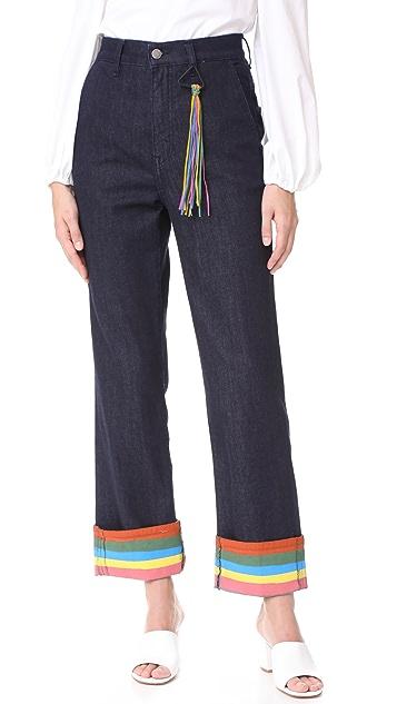 Mira Mikati Ribbon Cuff Denim Trousers