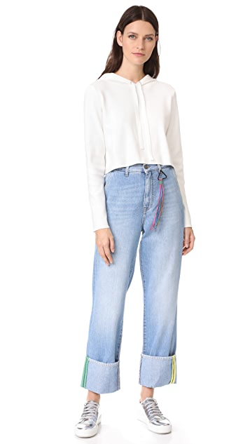 Mira Mikati Lost Ribbon Cuff Denim Trouser