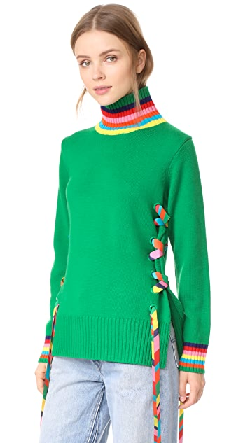 Mira Mikati Ribbon And Eyelet Turtleneck